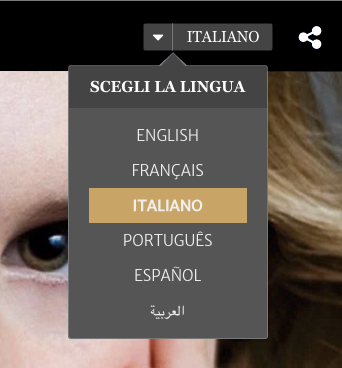 language dropdown